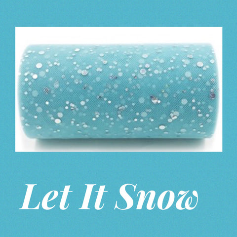 Turquoise/blue & silver glitter tulle 5.75""