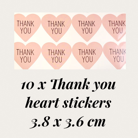 10 x Thank you heart  stickers 3.8 x 3.6 cm