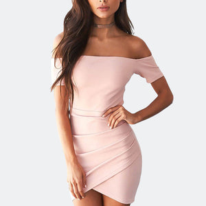 Pink Off Shoulder Backless Summer Dress
