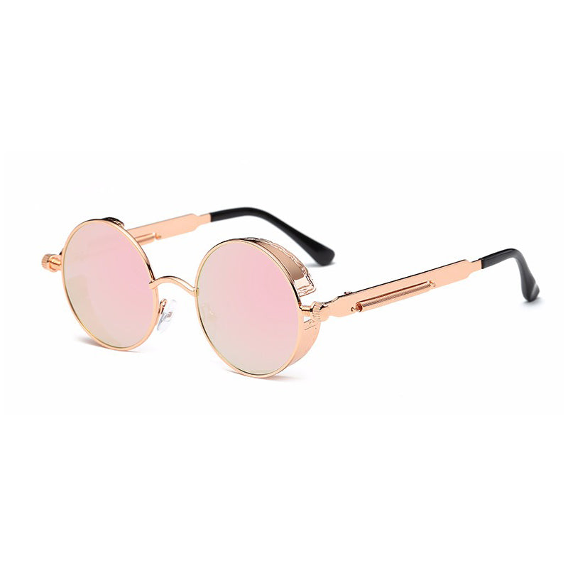 ROSE & GOLD VINTAGE ROUND SUNGLASSES