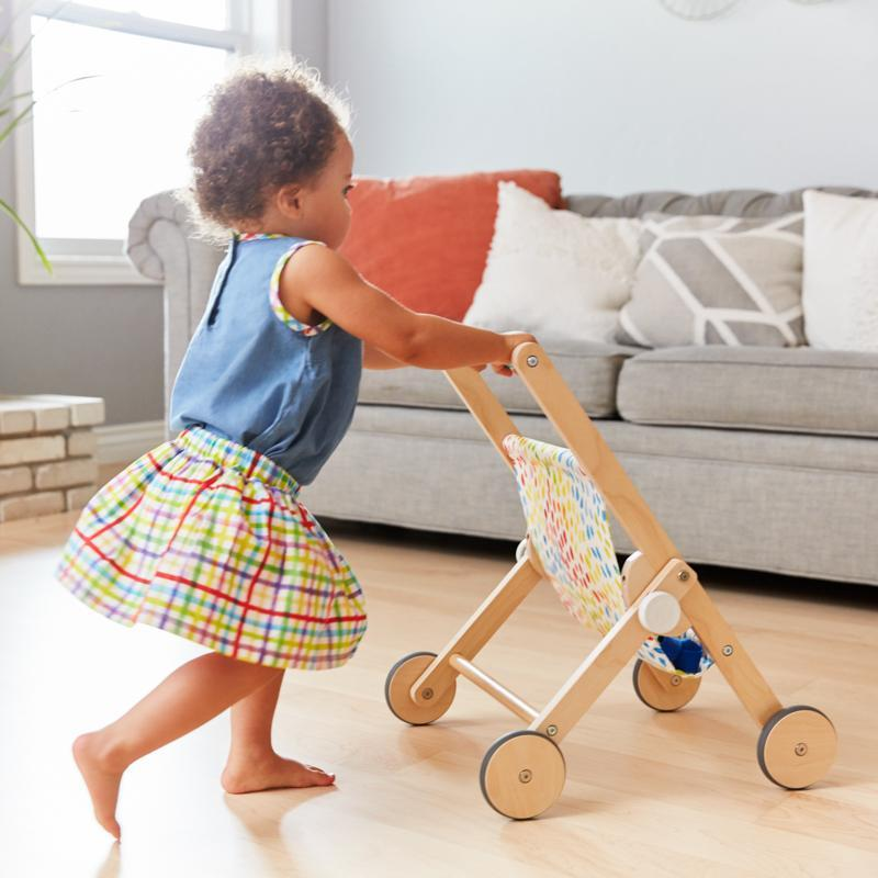 Wooden Toy Doll Stroller for Pretend Play The Buddy Stroller by Lovevery