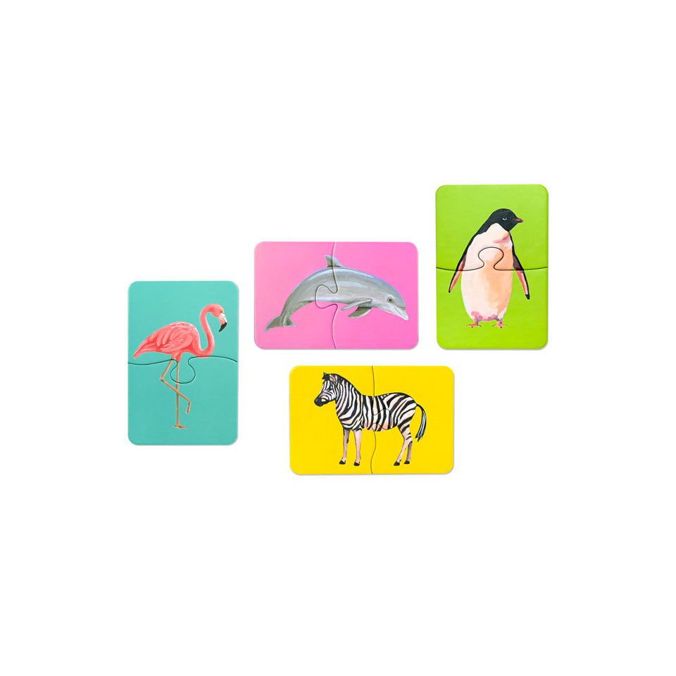 four sets of two-piece puzzle with animal images - flamingo, dolphin, penguin adn zebra