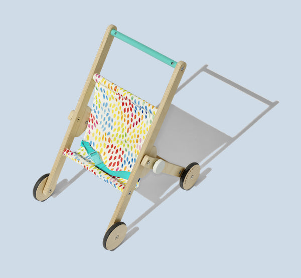 wooden stroller with colourful material seat for doll