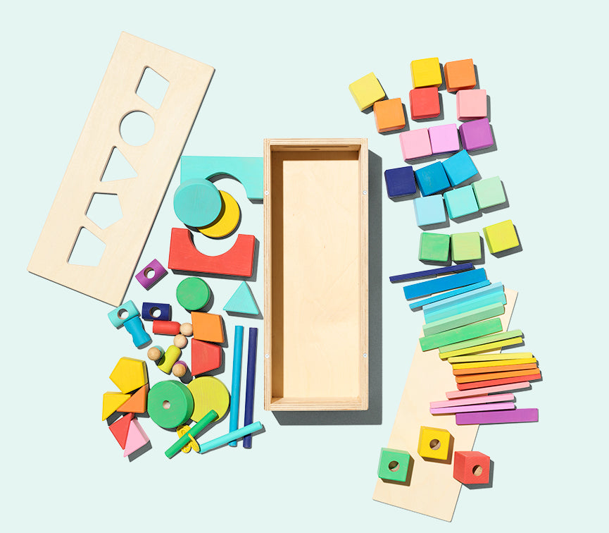wooden colourful set of blocks