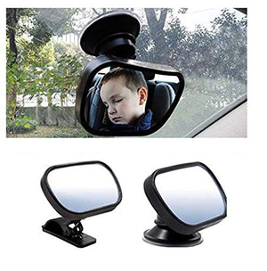 Car Baby Safety Observation Mirror 360 Degrees Suction Cup or Clip On Visor Rear View Mirror
