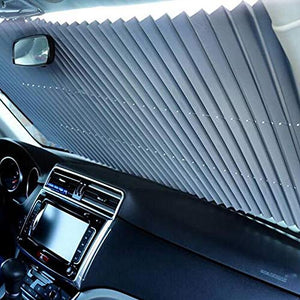 TRUE LINE Automotive 1 Piece Car Retractable Windshield Visor Sun Gaurd Shade Folding Block Cover Window Kit DIY