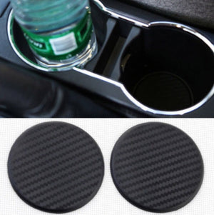 Jaguar F-Pace 2016-2019 Carbon Fiber Cup Holder Inserts Coasters