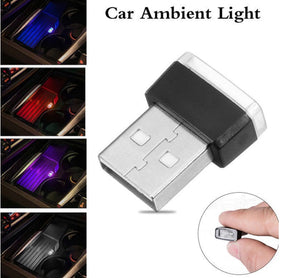 2 Piece Color Ultra USB Plug In Mini LED Car Interior Ambient Lighting Lamp Kit