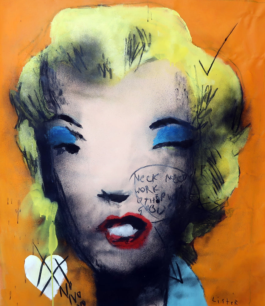 Anthony Lister UNTITLED FROM MARILYN MONROE 1967, Homage to Andy Warhol (Orange)