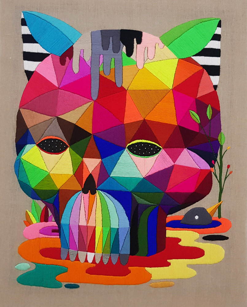 "Okuda San Miguel: ""Melted Cat Skull"""
