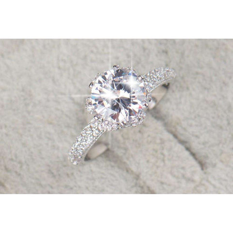 Sparkling 925 Sterling Silver CZ Ring