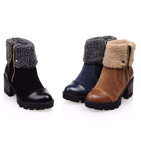 Women's Lined Winter Platform Ankle Boots