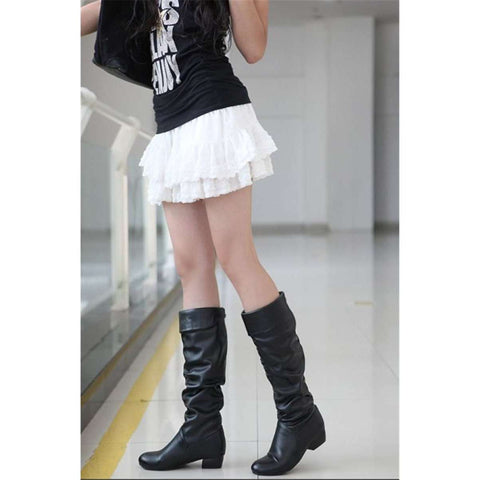 Women's Leather Low Heel Boots