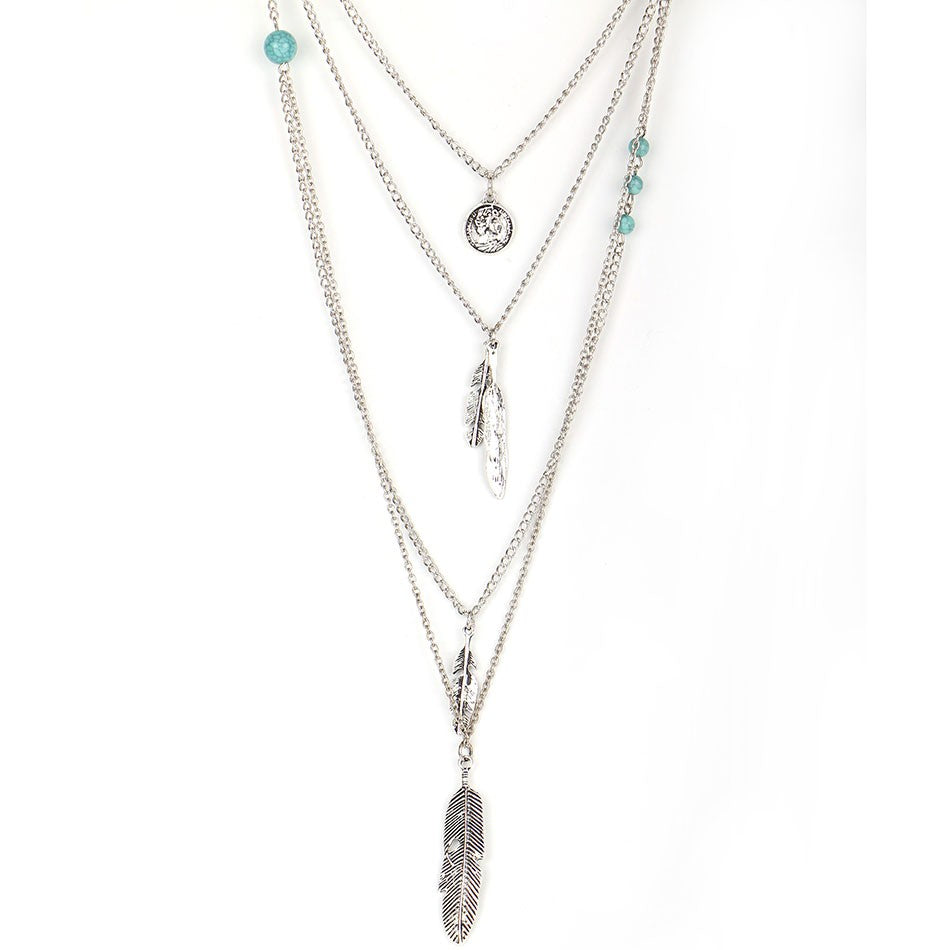 Well-liked Multi-Layered Women's Necklace - Feather And Pendant - Amador Stores DP39