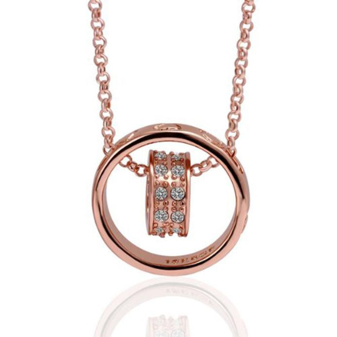 Women s Rhinestone Chain Necklace With Heart Designs Rose Gold