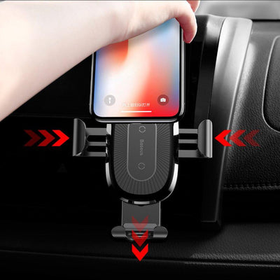 QI Fast Wireless Car Charger with Auto Locking Clamps for iPhone XR, XS and XS Max