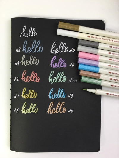 10 Colors Permanent Metallic Brush Pens
