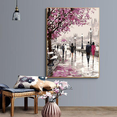 Cherry Blossoms Road Modern DIY Paint-By-Number Drawing Kit