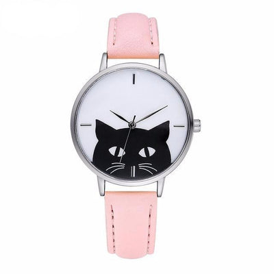 Purrrrfect Stainless Steel Cat Watch with Leather Band