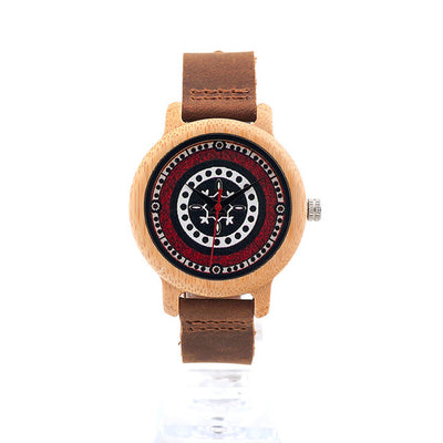 Circle of Life Designer Bamboo Watch w/ Leather Band