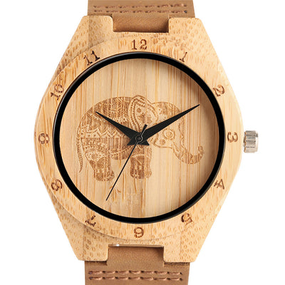 Elephant Hand-Crafted Bamboo Watch with Leather Band