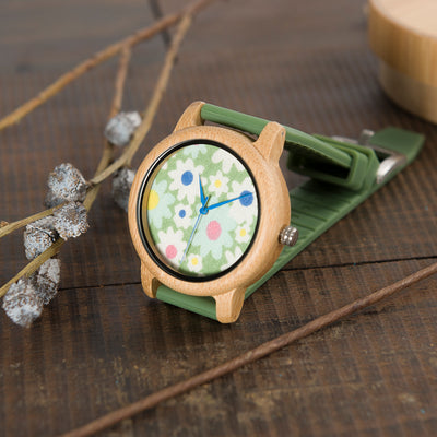 Flower Power Bamboo Watch w/ Silicon Band