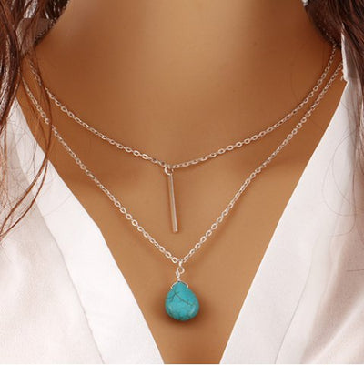 Turquoise Waterdrop and Bar Layered Necklace