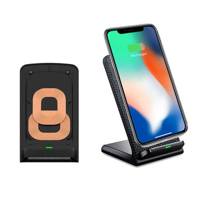 Stand-Up Leather Ultra-Fast Wireless Charger for iPhone X, 8 and 8 Plus
