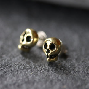 Yellow Brass Skull Stud Earrings
