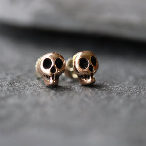 Rose Brass Skull Stud Earrings