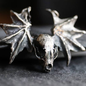 Sterling Silver Bat Skull & Wing Necklace