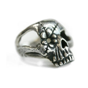 Sterling Silver Hammer Textured Flower Skull Ring