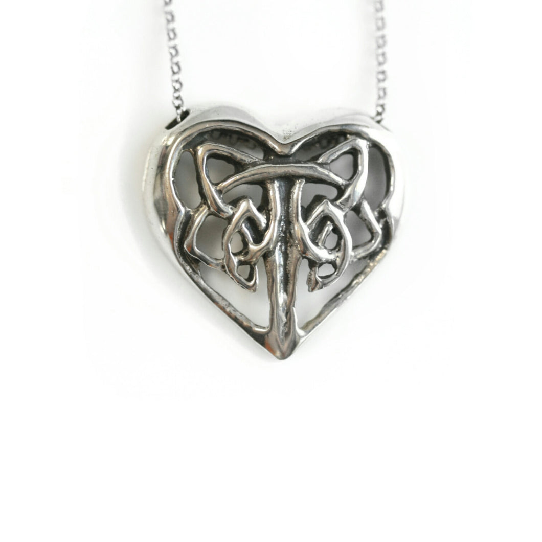 SALE: Sterling Silver Celtic Heart Pendant