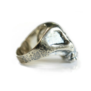 Oxidized and Hammer Textured Sterling Silver Classic Skull Ring