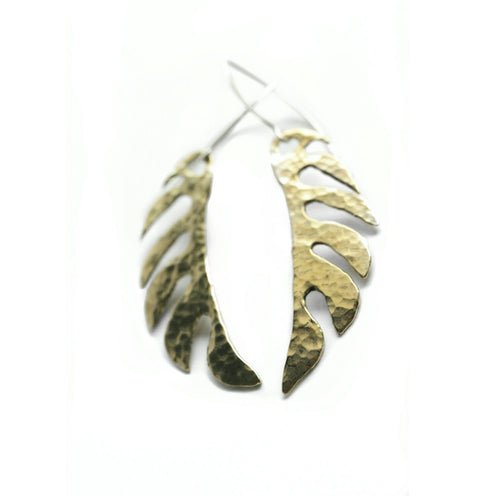 Textured Yellow Brass Goth Earrings