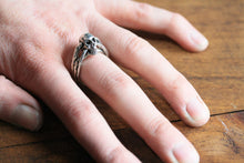 Sterling Silver 3-Band Small Skull Ring