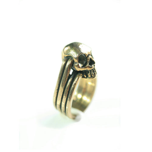 Yellow Brass Mini Skull Ring