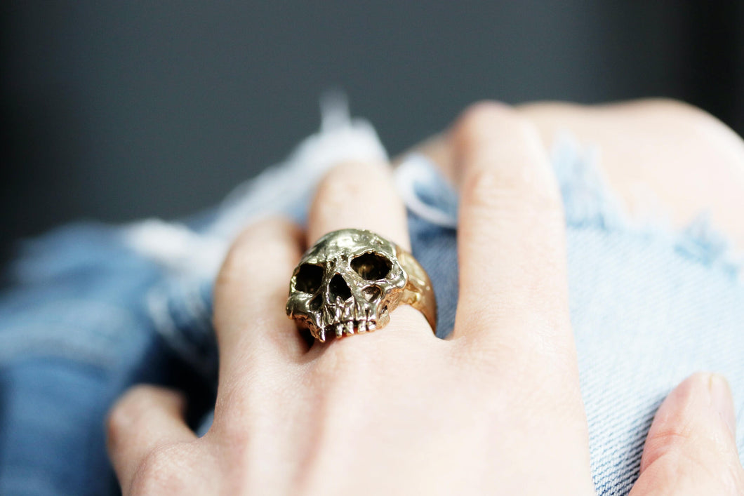 Yellow Brass Skull Ring