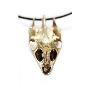 Yellow Brass Turtle Skull Pendant