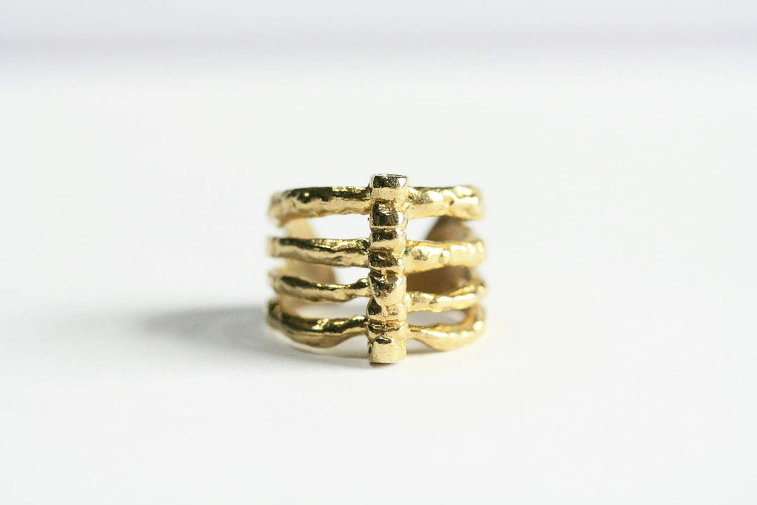 Yellow Brass Rib Cage Ring