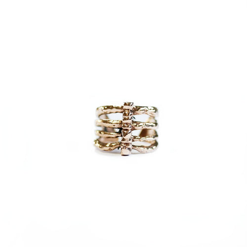 Rose Brass Rib Cage Ring