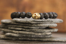 14K GF Brass Mini Skull Bracelet with Lava Rock Beads