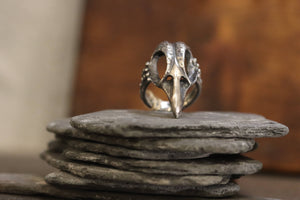 Unisex Sterling Silver Bird Skull Ring
