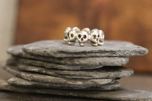 Sterling Silver 8-Skull Band