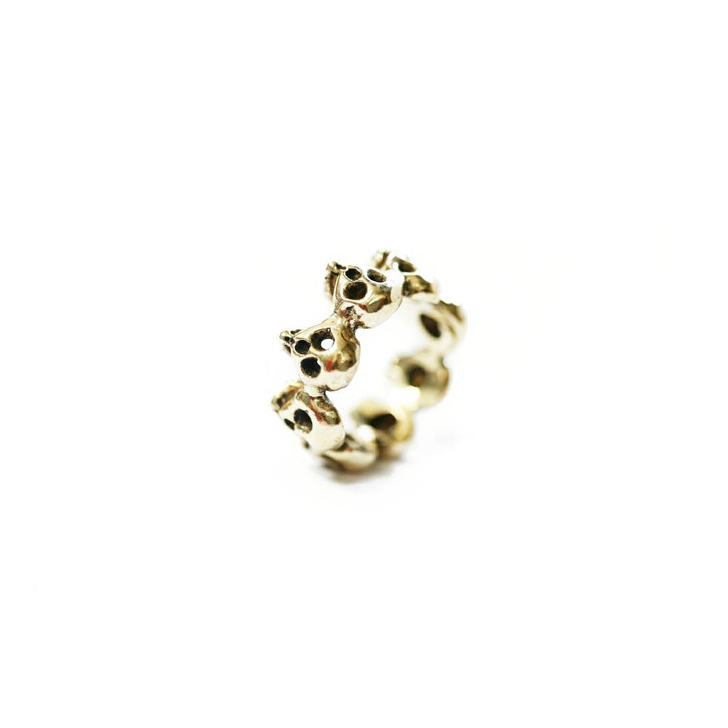 Yellow Brass 8-Skull Band Ring