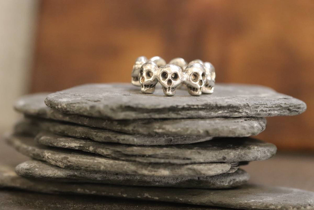 Sterling Silver 9-Skull Band Ring