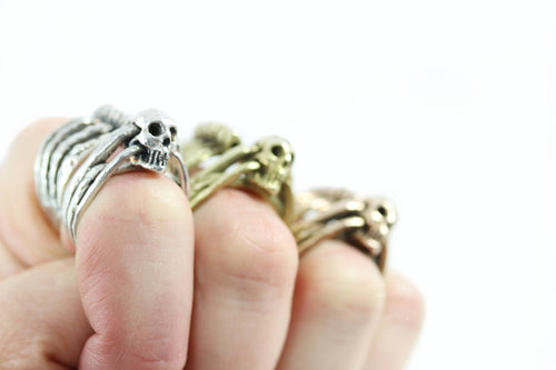 Skull Ring and Cage Ring Set- Stackable Rings