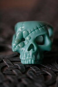 Sterling Silver Flower Patch Sugar Skull Ring