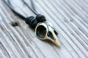"Unisex Sterling Silver Bird Skull ""Raven"" Pendant on Leather Cord"