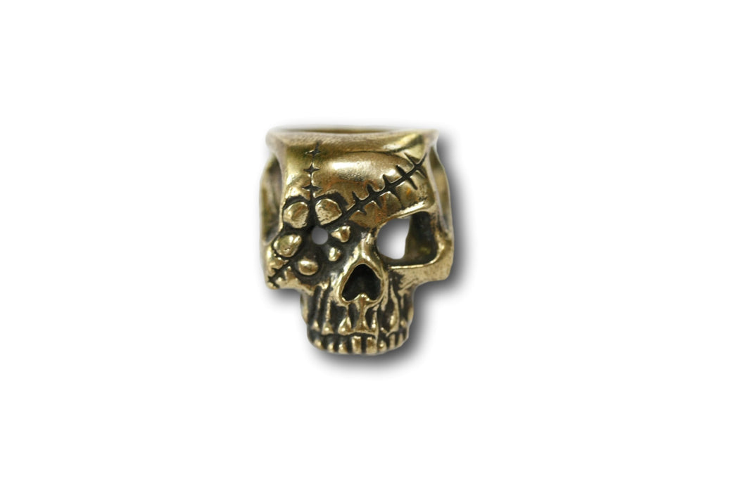 Yellow Brass Silver Flower Patch Skull Sugar Ring